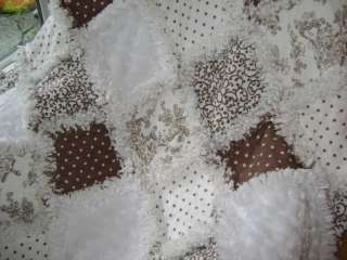 Gender Neutral baby Rag quilt ~ Paisley toile dots and brown