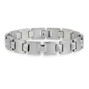 Stainless Steel I and Square Mens Link Bracelet Jewelry