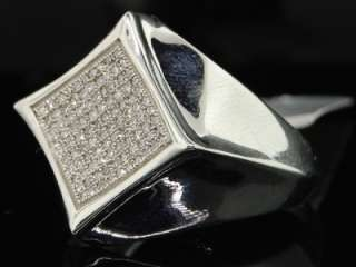 MENS WHITE GOLD FINISH PAVE DIAMOND FLAT PINKY RING