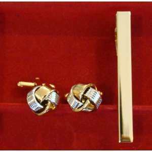 Gold & Silver Knot Cufflinks and Tie Bar Set Wedding Fathers Day