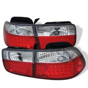 1996 2000 Honda Civic 2D Red/Clear SR LED Tail Lights