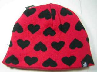 Paul Frank Julius Black Red Skull Reversible Beanie NWT