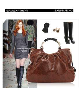 Womens Genuine Shiny Leather Hand Bag in Python Skin Pattern 6037 San