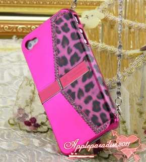 Luxury Hot Pink Leopard Diamond Stand Handbag Designer Case For Iphone
