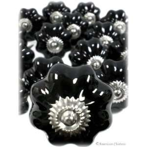 30 Black Ceramic Vintage Cabinet Knobs / Drawer Pulls