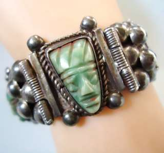 VTG REPOUSSE EARLY 1920s JADE AZTEC MEXICO MEXICAN STERLING SILVER