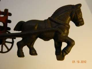 ANTIQUE CAST IRON HORSE AND WAGON BY KENTON