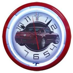 Ford Mustang Red Neon Wall Clock 20 Made In USA New