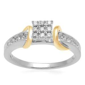 18k Yellow Gold Plated Sterling Silver Diamond Square Head