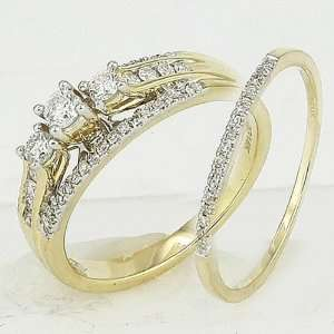 14k Yellow Gold Round Diamond Ladies Bridal Ring Engagement Matching
