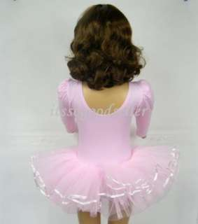 Girl Party Long & Short Sleeve Leotard Pink Ballet Dance Fairy Tutu