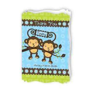 Twin Monkey Boys   Personalized Baby Thank You Cards With