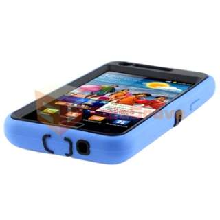 Black Blue Hybrid TPU Case+Privacy Film+Charger For Samsung Galaxy S