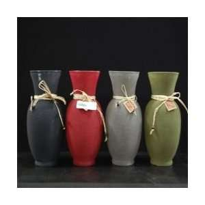 Decorative Short Frosted Glass Vase Colors Red, Green