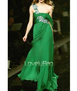 2012 Green Celebrity Runway Floral Lace Chiffon Ball Prom Gown Evening