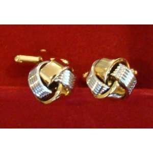 Silver and Gold Knot Cufflinks Wedding Fathers Day