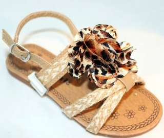 Kids Slingback Flats Sandals Camel Leopard Floral Woven Hemp Girls