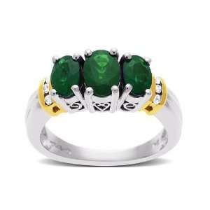 Emerald Ring in 10K Two Tone Gold with Diamonds Jewelry