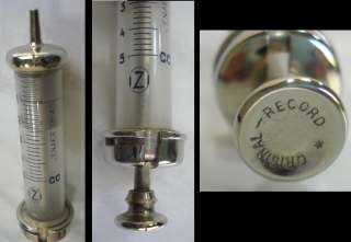 WWII ANTIQUE GERMAN MEDICAL BRASS GLASS SYRINGE – ORIGINAL RECORD