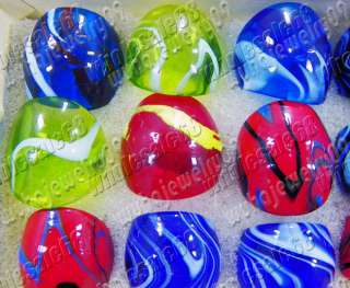 wholesale lot 24pcs colour dome murano glass rings #7 9