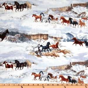 44 Wide Winter Enchantment Running Horses White/Multi