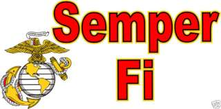 USMC Marine Corp SEMPER FI Window Automotive Decal