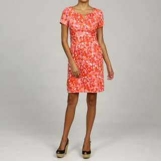 Jessica Howard Womens Petite Coral Printed Dress