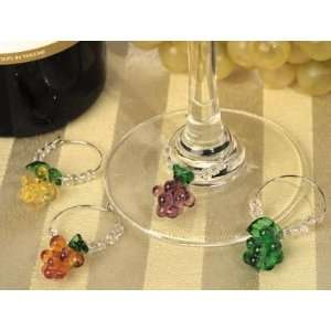 Art Deco Collection Grapes Glass Wine Charms