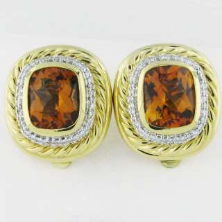 ESTATE D. YURMAN 18K GOLD CITRINE DIAMOND EARRINGS