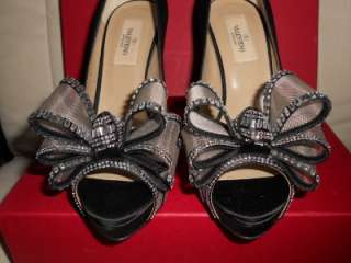 Valentino Swarovski Crystal Embellished Satin Platform Pumps Shoes Bow