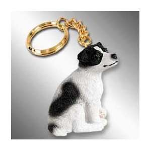 Jack Russell Terrier Dog Keychain   Black & White