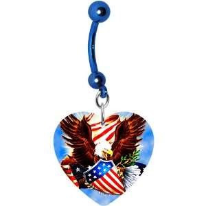 Heart Patriotic Eagle American Flag Belly Ring Jewelry