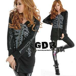 FreeShip  SWEET PUNK BLACK HOODIE 3D SKULL PRINTED PUNK 201129 JACKET