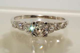 5000 .64CT ANTIQUE ART DECO EUROPEAN CUT DIAMOND ENGAGEMENT RING SIZE