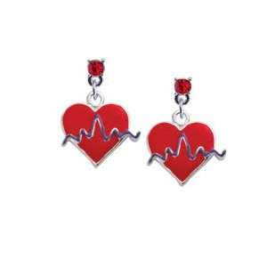 Red Heart with Rhythm Line Red Swarovski Charm Earrings