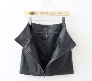 Motorcycle Biker Leather Mini Skirt Women Dress Zipped