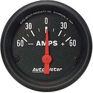 Auto Meter 2644 Z Series 2 1/16 60 0 60 amps Short Sweep