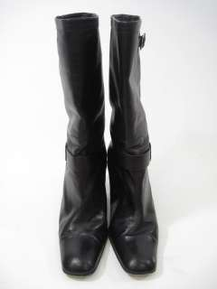 CALVIN KLEIN Black Leather Buckle Knee High Boots 9.5 M
