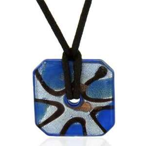 Murano Glass Sterling Silver Blue And Foil Square Donut