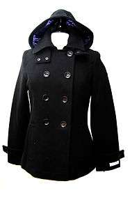 NWT Womens CALVIN KLEIN Black Wool Blends Hooded Peacoat