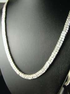 MENS 2 ROW FANOOK WHITE GOLD FINISH DIAMOND CHAIN 5.0CT
