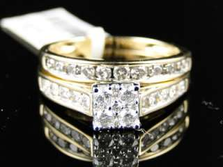 WOMENS YELLOW GOLD BRIDAL DIAMOND ENGAGEMENT WEDDING BAND RING SET 1.0
