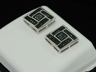 MENS LADIES 10K WHITE GOLD BLACK DIAMOND STUDS EARRINGS