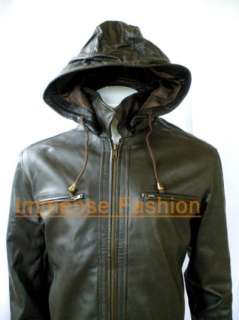 NWT Mens Remove able Hood Leather Jacket Style M32