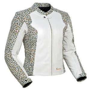 Tourmaster Cortech LNX Womens Leather Motorcycle Jacket Leopard/White