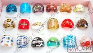 24pcs Murano Glass Ring mixed Designer Lampwork Glazed