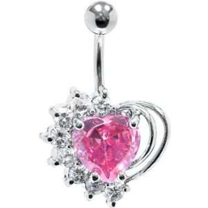 Pink Cubic Zirconia Stellar Heart Belly Ring Jewelry