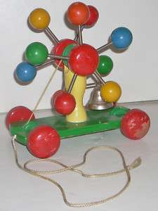 Vintage Mechanical Wooden Pull Toy with Bell