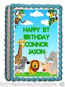 Sheet Edible Frosting Cake Image Safari Jungle Baby Shower 1st