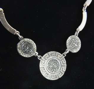 Vtg Mexico Sterling SIlver Aztec Mayan Medal Overlay Link Tribal Bib